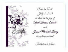 100 Personalized Custom Purple Floral Bridal Wedding Save The Date Cards
