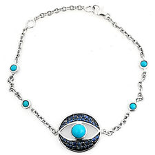 "Rarities S Silver Turquoise & 0.55cttw Blue Sapphire Bracelet 7"" + 1"" Extender"