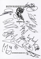BOLTON WANDERERS - Multi Signed A4 Page - By 17 Players 2012/13 - FOOTBALL