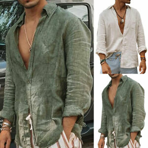 Men's Casual Cotton Linen Shirt Long Sleeve Loose Blouse Button Breathable Top