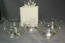 Avon Wild Violets 6Pc Crystal Clear Glass Bowls Nib