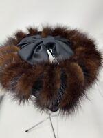 Vintage Ladies Fur Hat Mink Tails Satin Bow Union Made 16924