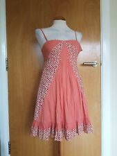 Ladies MONSOON Dress Size 8 Peach Broderie Anglaise Cotton Smart Casual Day