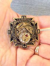 KNIGHTS TEMPLAR MASONIC 1892 MEDAL PIN DENVER CO GRAND ENCAMPMENT