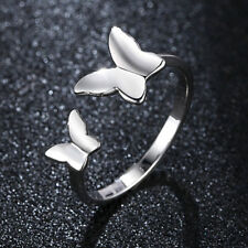 Fashion Women White Gold Filled Cute Double Butterfly band Ring Size Adjustable
