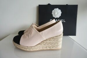 100% Auth. Chanel Limited Wedges Espadrilles Two Tones Leather Platform 39 NEW