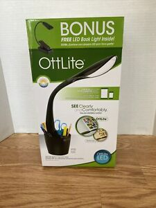 OttLite LED Desk Space Organizer Lamp (Black) Bonus: LED Book Light Included NEW