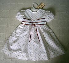 Vintage Quality Dress - Age 3 - White/Orange Floral - Rust Ribbon trim - New