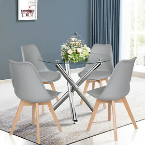 90cm Round Glass Dining Table and 4 Chairs Set Dining Room Kitchen Lounge Office