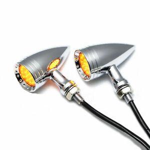 Universal Chrome Bullet Ambre Clignotant à LED Indicateur Lumière de frein moto