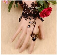 Retro Handmade Gothic Lace Slave Bracelet Wristband Black Flower Ring Party HC2