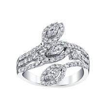Diamond Ring 1.37ct VS1 Marquise 18k White Gold Band Freeform