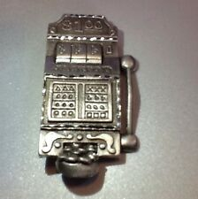 PEWTER $1.00  SLOT MACHINE Pin /Brooch Spoontiques 'One Arm Bandit' JACKPOT NEW
