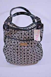 New Nine & Co. Women's Black White Hobo Shoulder Bag Purse