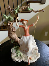VINTAGE GIUSEPPE ARMANI YOUNG LADY GIRL ON SWING IN TREE FIGURINE CAPODIMONTE