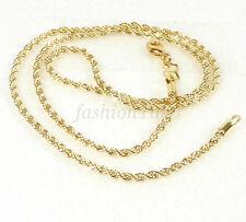 14.000 giallo oro placcato piccole FUNE Twist Collana Catena 45cm 2mm Aragosta Fibbia