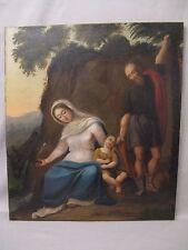 Ancien tableau religieux huile sur toile la nativité époque XVIII ème siècle
