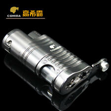 COHIBA Metal 4 Torch Jet Flame Grey Cigar Lighter Cigare Aansteker W/Punch