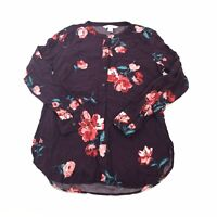 Old Navy The Tunic Shirt Women's Purple Floral Long Sleeve Blouse Top Ladies M