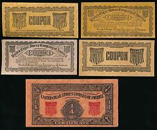 1910 United Cigar Stores Coupons (5) *Companion Piece- T38 The Aviators Series*