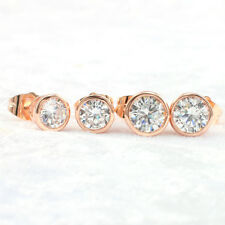 14k Rose Filled Made With Swarovski Crystal Round Stud Earrings, 6 mm-8 mm