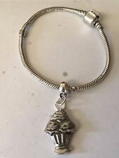 silver Rhodium Plated Snake Bracelet Sundae Icecream Tg54 on a