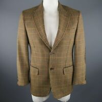 VALENTINO 40 Regular Olive Plaid Wool Sport Coat