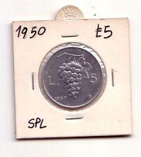 Repubblica Italiana 5 lire 1950  Uva  Italma   SPL   (m850)