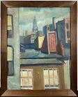 c. 1940 NYC New York Modernist Impressionist City Skyline Skyscrapers Oil Board