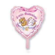 PALLONCINO BATTESIMO BIMBA Mini shape cuore rosa 20 cm Addobbi Feste ed eventi