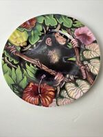 Fitz & Floyd Exotic Jungle black Monkey Floral Salad Plate Bone China MMI 9-1/4""