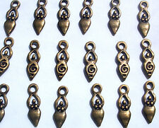 10 Small Goddess Charms Pagan Wicca Bronze Tone Metal 16mm