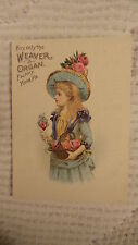 Antique Victorian Trade Card WEAVER ORGAN, YORK,PA Girl Blue Dress, Pink Flowers