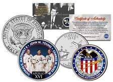 APOLLO 16 SPACE MISSION 2-Coin Set US Quarter & JFK Half Dollar NASA ASTRONAUTS