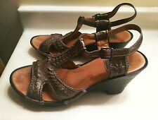 Clark's Bondable Leather Heels Sandal Wedge Shoes Size 8M Gray