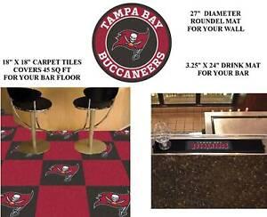 "Tampa Bay Buccaneers Carpet Tiles 18""x18"" 45 sq ft Drink Mat 27"" Roundel Mat NFL"