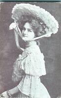 Miss Lily Elsie actress postcard antique portrait large hat bracelet necklace