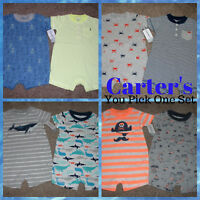 Carters Baby Boys Shorts Romper Outfit 2pk Set Size NB 3 6 9 12 18 24 Months NWT