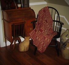 """Primitive Antique Vtg Style Red Tan Blanket Coverlet 34"""" Square Throw CT66SS"""