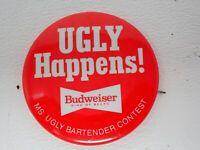 Vintage Ugly Happens Ms. Ugly Bartender Contest Budweiser Pinback