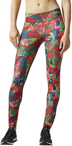adidas Selinas Graphic Print Long Womens Leggings Gym Running Sports Training