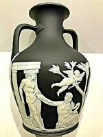 "C.1875 ~ Wedgwood Black Jasperware ""BARBERINI"" 8"" Portland Vase Rope Handle RARE"