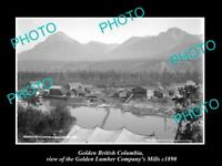 OLD LARGE HISTORIC PHOTO OF GOLDEN BC CANADA, THE GOLDEN LUMBER Co MILL c1890