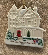 Vintage Lenox Porcelain Ornament, From Our House to Yours, Merry Christmas, 1997