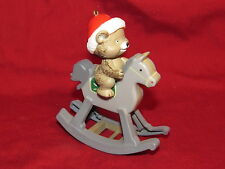 Teddy Bear on Rocking Horse Plastic Christmas Ornament