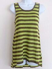Michael Kors Women's Green Brown KIwi Striped Sleeveless Hi-Low Top Size: M