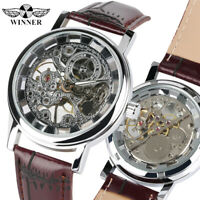 Men Luxury Transparent Mechanical Hand-winding Skeleton Wrist Watch Leather Band