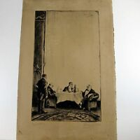 RICHARD BLOOS ETCHING Drei Herren In Einem Pariser Lokal 3 MEN PARIS RESTAURANT