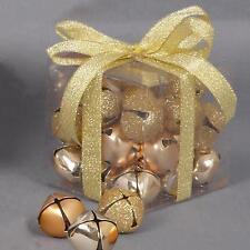 Decoración Árbol de Navidad 27 Mezclado Metal 25mm CASCABEL BOLAS - Dorado