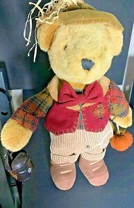 "Vintage Dan Dee Collector's Choice Thanksgiving Greeter Hard Plush Bear 16"""